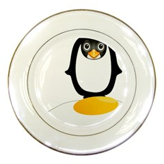 Linux Tux Pengion Oops Porcelain Display Plate by youshidesign
