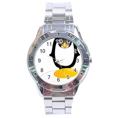 Linux Tux Pengion Oops Stainless Steel Watch by youshidesign