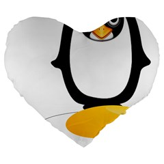 Linux Tux Pengion Oops 19  Premium Heart Shape Cushion by youshidesign