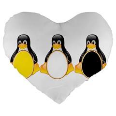 Linux Tux Penguins 19  Premium Heart Shape Cushion by youshidesign