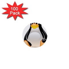 Crystal Linux Tux Penguin  1  Mini Button (100 Pack) by youshidesign