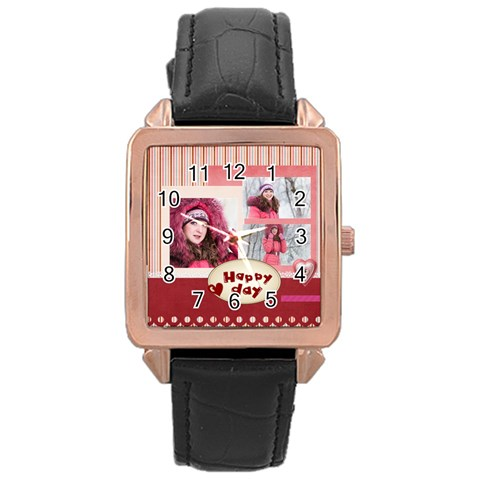 Love By Ki Ki   Rose Gold Leather Watch    7twhrpd6rj8g   Www Artscow Com Front