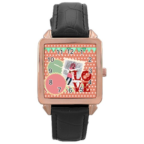 Love By Ki Ki   Rose Gold Leather Watch    Tj4yqyoavzp8   Www Artscow Com Front