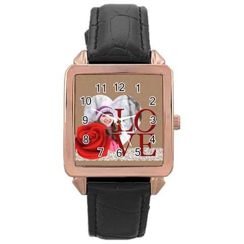 Love By Ki Ki   Rose Gold Leather Watch    Qpy7yb8fd2om   Www Artscow Com Front
