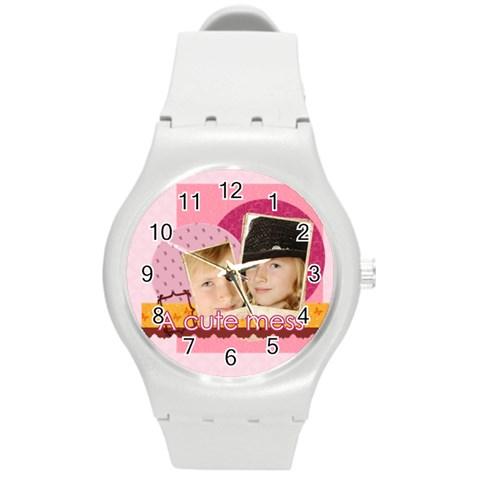 Kids By Kids   Round Plastic Sport Watch (m)   Prxxwyglewpc   Www Artscow Com Front