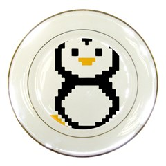 Pixel Linux Tux Penguin Porcelain Display Plate by youshidesign