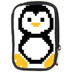 Pixel Linux Tux Penguin Compact Camera Leather Case by youshidesign