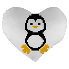 Pixel Linux Tux Penguin 19  Premium Heart Shape Cushion by youshidesign