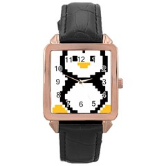 Pixel Linux Tux Penguin Rose Gold Leather Watch