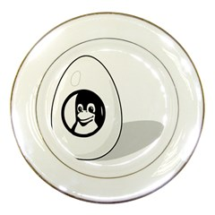 Liux Tux Egg Brand Porcelain Display Plate by youshidesign