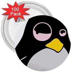 Lazy Linux Tux Penguin 3  Button (100 Pack) by youshidesign