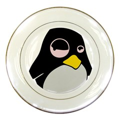 Lazy Linux Tux Penguin Porcelain Display Plate by youshidesign
