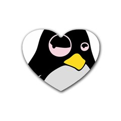 Lazy Linux Tux Penguin Drink Coasters (heart) by youshidesign