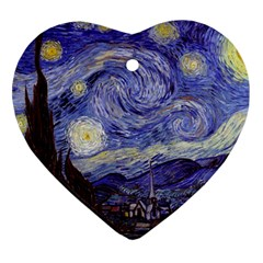 Vincent Van Gogh Starry Night Heart Ornament (two Sides) by MasterpiecesOfArt