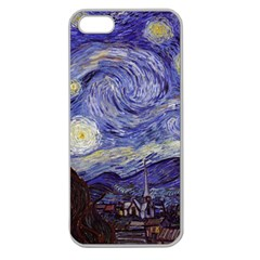 Vincent Van Gogh Starry Night Apple Seamless Iphone 5 Case (clear) by MasterpiecesOfArt