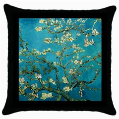 Vincent Van Gogh Blossoming Almond Tree Black Throw Pillow Case by MasterpiecesOfArt