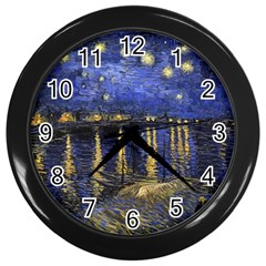 Vincent Van Gogh Starry Night Over The Rhone Wall Clock (black) by MasterpiecesOfArt