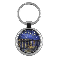 Vincent Van Gogh Starry Night Over The Rhone Key Chain (round) by MasterpiecesOfArt