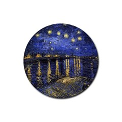 Vincent Van Gogh Starry Night Over The Rhone Drink Coasters 4 Pack (round) by MasterpiecesOfArt