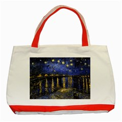 Vincent Van Gogh Starry Night Over The Rhone Classic Tote Bag (red) by MasterpiecesOfArt