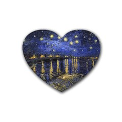 Vincent Van Gogh Starry Night Over The Rhone Drink Coasters 4 Pack (heart)  by MasterpiecesOfArt