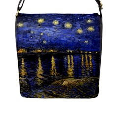 Vincent Van Gogh Starry Night Over The Rhone Flap Closure Messenger Bag (large) by MasterpiecesOfArt