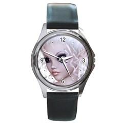 Fairy Elfin Elf Nymph Faerie Round Leather Watch (silver Rim) by goldenjackal