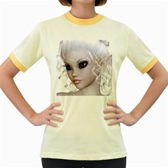 Fairy Elfin Elf Nymph Faerie Womens  Ringer T Shirt (colored) by goldenjackal