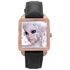 Fairy Elfin Elf Nymph Faerie Rose Gold Leather Watch  by goldenjackal
