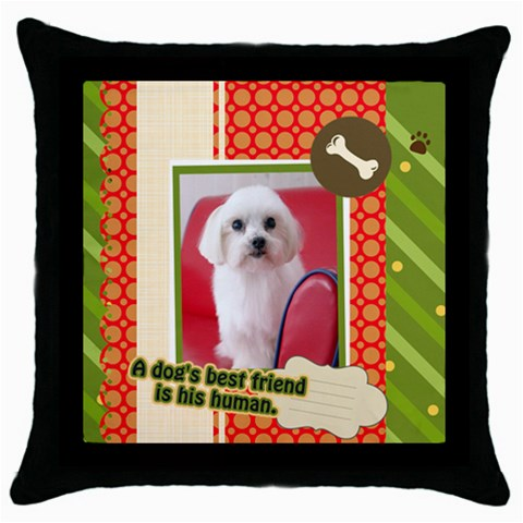 Pet By Pet    Throw Pillow Case (black)   F0c4ws75bma4   Www Artscow Com Front