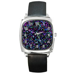 Glitter 1 Square Leather Watch by MedusArt