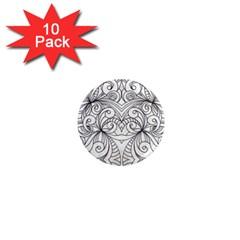 Drawing Floral Doodle 1 1  Mini Button Magnet (10 Pack) by MedusArt
