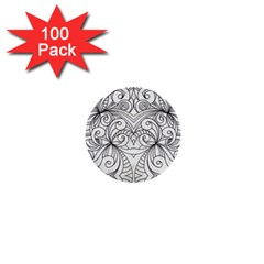 Drawing Floral Doodle 1 1  Mini Button (100 Pack) by MedusArt