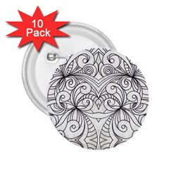 Drawing Floral Doodle 1 2 25  Button (10 Pack) by MedusArt