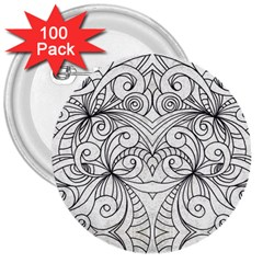 Drawing Floral Doodle 1 3  Button (100 Pack) by MedusArt