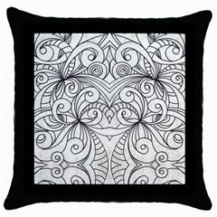 Drawing Floral Doodle 1 Black Throw Pillow Case by MedusArt