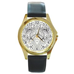 Drawing Floral Doodle 1 Round Leather Watch (gold Rim)  by MedusArt