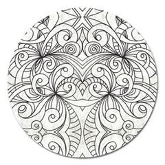 Drawing Floral Doodle 1 Magnet 5  (round) by MedusArt