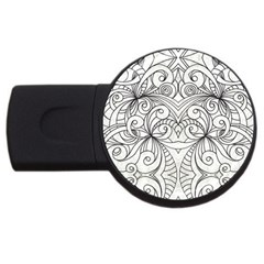 Drawing Floral Doodle 1 2gb Usb Flash Drive (round) by MedusArt