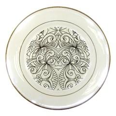 Drawing Floral Doodle 1 Porcelain Display Plate by MedusArt