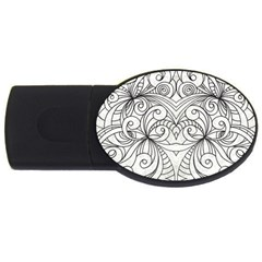 Drawing Floral Doodle 1 4gb Usb Flash Drive (oval) by MedusArt
