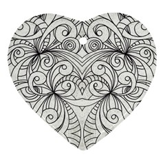 Drawing Floral Doodle 1 Heart Ornament (two Sides) by MedusArt