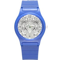 Drawing Floral Doodle 1 Plastic Sport Watch (small) by MedusArt
