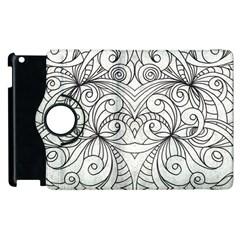Drawing Floral Doodle 1 Apple Ipad 3/4 Flip 360 Case by MedusArt