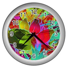 Floral Abstract 1 Wall Clock (silver) by MedusArt