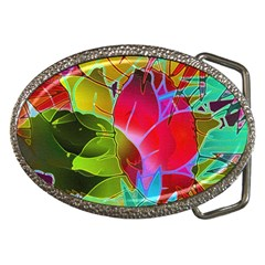 Floral Abstract 1 Belt Buckle (oval) by MedusArt