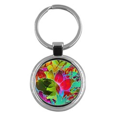 Floral Abstract 1 Key Chain (round) by MedusArt