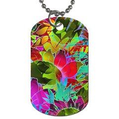 Floral Abstract 1 Dog Tag (two Sided)  by MedusArt