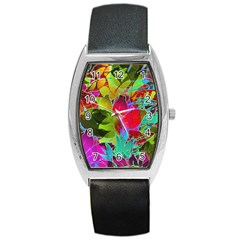 Floral Abstract 1 Tonneau Leather Watch by MedusArt