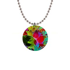 Floral Abstract 1 Button Necklace by MedusArt